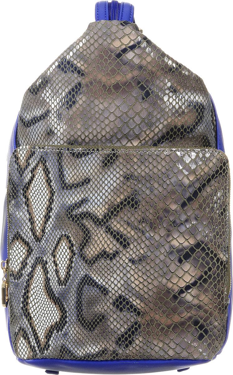 Рюкзак женский Vitacci, цвет: коричневый, синий. 13975-113975-1Стильный женский рюкзак Vitacci выполнен из искусственной кожи. Модель оформлена вставками из искусственной кожи с тиснением под рептилию. Изделие имеет одно отделение, закрывающееся на застежку-молнию. Внутри содержит два накладных кармана для телефона и мелких принадлежностей, а также врезной карман на молнии. Снаружи, на передней стенке расположен вместительный накладной карман на застежке-молнии. На задней стенке предусмотрен прорезной карман на застежке-молнии. Рюкзак оснащен двумя лямками, регулируемой длины, которые при помощи молнии соединяются в одну. Модель можно носить как в руке, так и на плечах в виде рюкзака. Стильный рюкзак прекрасно дополнит ваш образ.