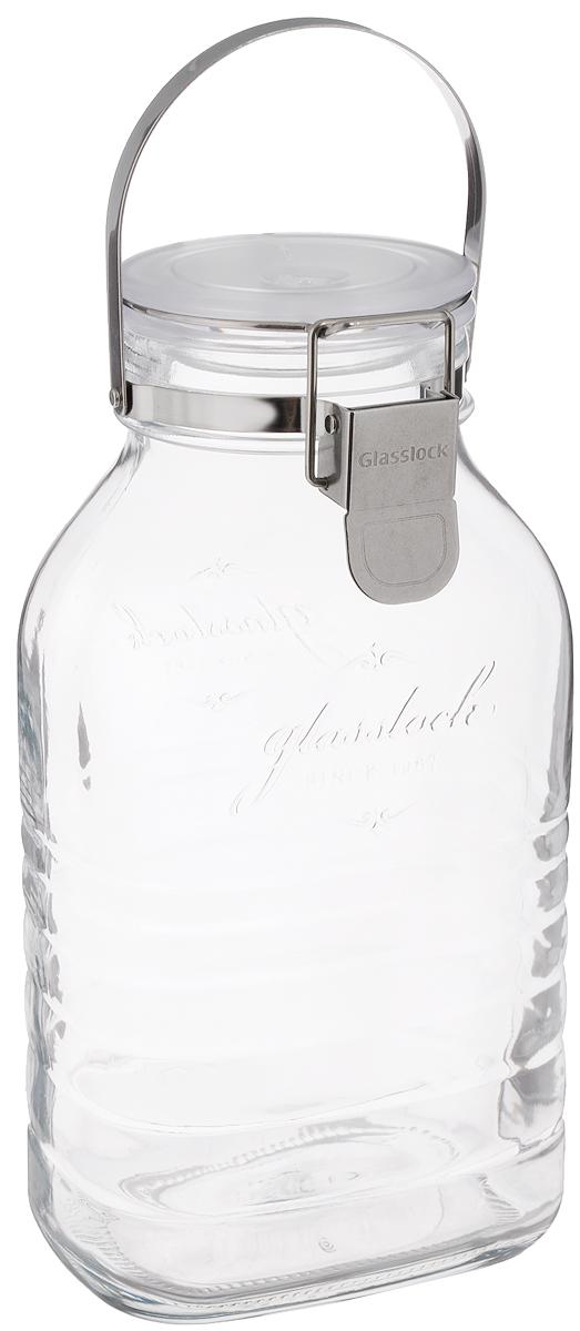 Банка Glasslock, цвет: прозрачный, белый, 2 лIP-635Герметичная банка Glasslock изготовлена из прочного утолщенного стекла. Изделие оснащено металлической ручкой и герметичной крышкой, закрывающейся при помощи металлической клипсы. Благодаря этому продукты внутри банки дольше остаются свежими. Банка прекрасно подходит для хранения солений, ягод, варенья. Банка Glasslock станет незаменимым аксессуаром на любой кухне. Можно мыть в посудомоечной машине и хранить в холодильнике. Диаметр банки (по верхнему краю): 8 см. Размер основания: 12 х 8,5 см. Высота банки (с учетом крышки): 26 см.