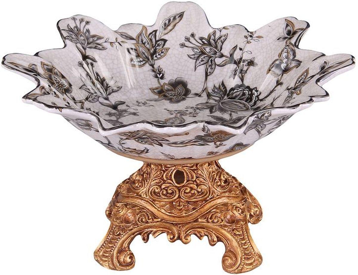 Конфетница на ножке 25 см PATRICIAIM10-0403Конфетница на подставке выполнена из керамики. Изделие имеет сложную форму напоминающую распустившийся бутон цветка. Подставка изготовлена из полимерного материала имитирующего бронзу. Вся поверхность изделия украшена цветочным декором в классическом стиле.
