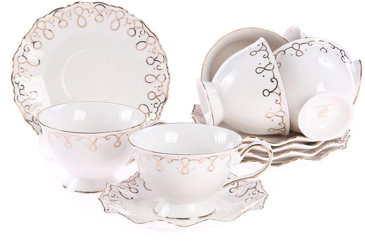 Набор чайный 12 предметов 220мл PATRICIAIM12109-12Набор состоит из шести чашек и шести блюдец. Все изделия выполнены из фарфора высокого качества, украшены позолотой. Данный товар имеет подарочную упаковку.