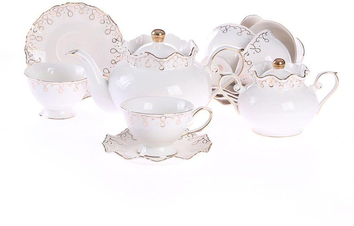 Набор чайный 14 предметов 220 мл, шт, PATRICIAIM12109-14Чайный набор состоит из шести чашек, шести блюдец, сахарницы и заварочного чайника. Все изделия выполнены из фарфора высокого качества, украшены позолотой. Данный товар имеет подарочную упаковку.
