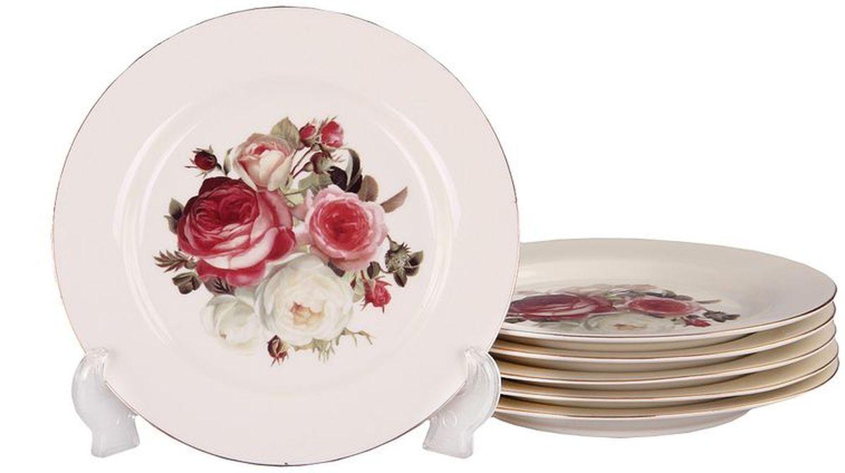 Набор тарелок десертных 6шт 19см PATRICIAIM4342Набор десертных тарелок из 6-ти штук выполнен из керамики высшего качества. Для дизайна используется цветочный принт и позолота.