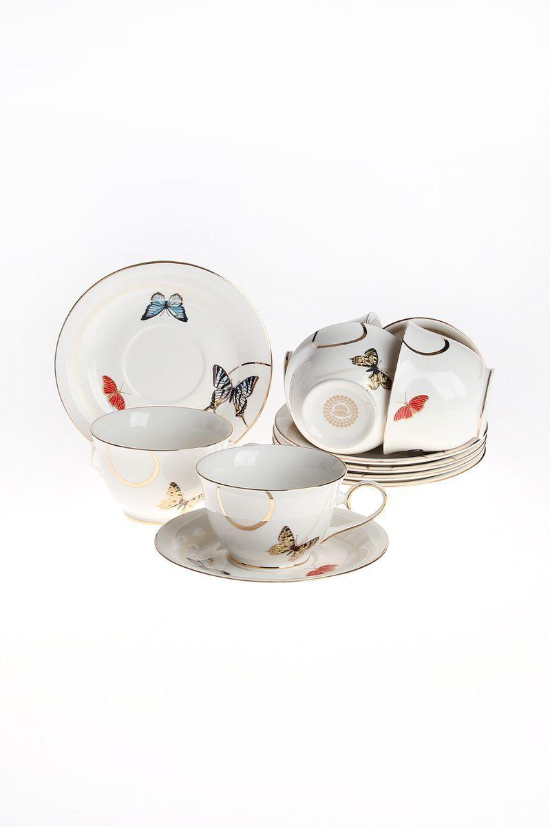 Набор чайный 12 предметов 240 мл PATRICIAIM52-0900Чайный набор включает в себя 12 предметов: 6 чашек (240мл.) и 6 блюдец. Изделия выполнены из фарфора безупречной белизны. Чашки и блюдца украшены графичным декором в виде бабочек и позолотой . Набор имеет подарочную упаковку.
