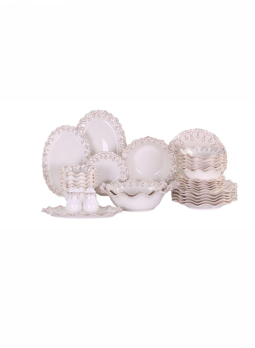 Набор столовый 32 пр. на 6 пер. PATRICIAIM520282Этот набор позволит комплексно и со вкусом сервировать стол на 6 персон. В данном комплекте вы найдете все необходимое: тарелки, блюда различных форм и диаметров, салатники, емкости для специй. Все элементы изготовлены из фарфора безупречного качества, украшены золотым орнаментом. Набор имеет подарочную упаковку и может послужить прекрасным подарком.