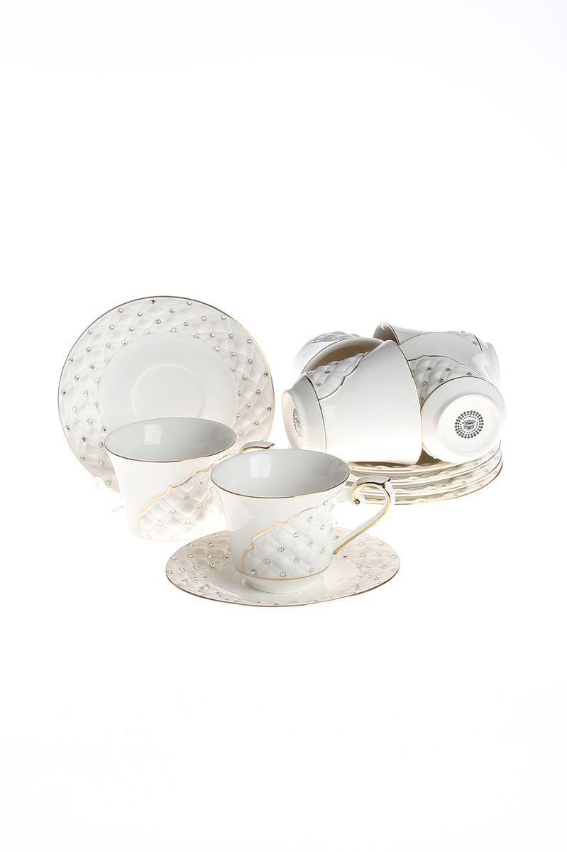 Набор чайный 12 пр. 200 мл PATRICIAIM553019Чайный набор включает в себя 12 предметов: 6 чашек (200мл.) и 6 блюдец. Изделия выполнены из фарфора безупречной белизны. Чашки и блюдца украшены стразами и золотым декором. Набор имеет подарочную упаковку.