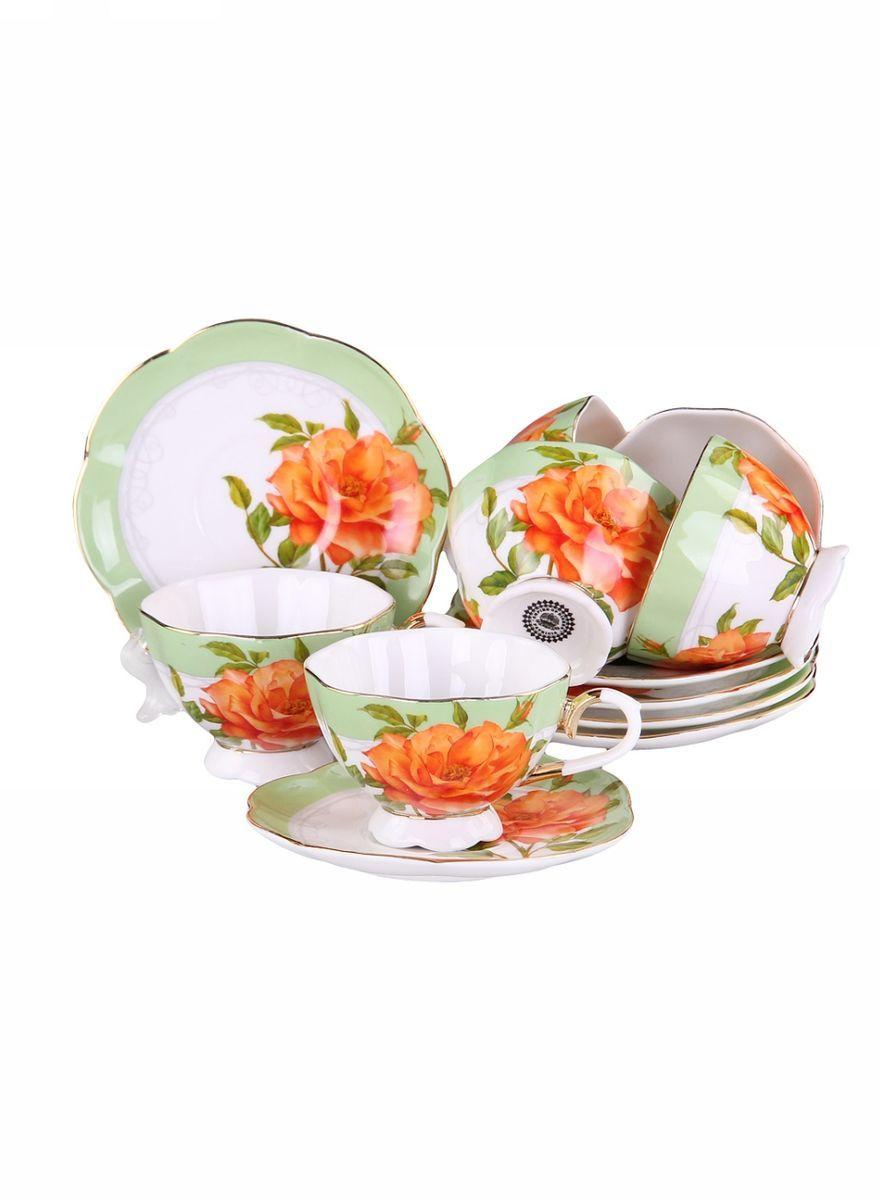 Набор кофейный 12 предметов 90 мл PATRICIAIM554009Набор включает в себя 12 предметов: 6 чашек (90мл.) и 6 блюдец. Изделия выполнены из фарфора безупречной белизны. Чашки и блюдца украшены декором в виде цветка розы, некоторые элементы дополнительно декорированы позолотой. Набор имеет подарочную упаковку. Внимание! Изделия нельзя использовать в посудомоечной машине.