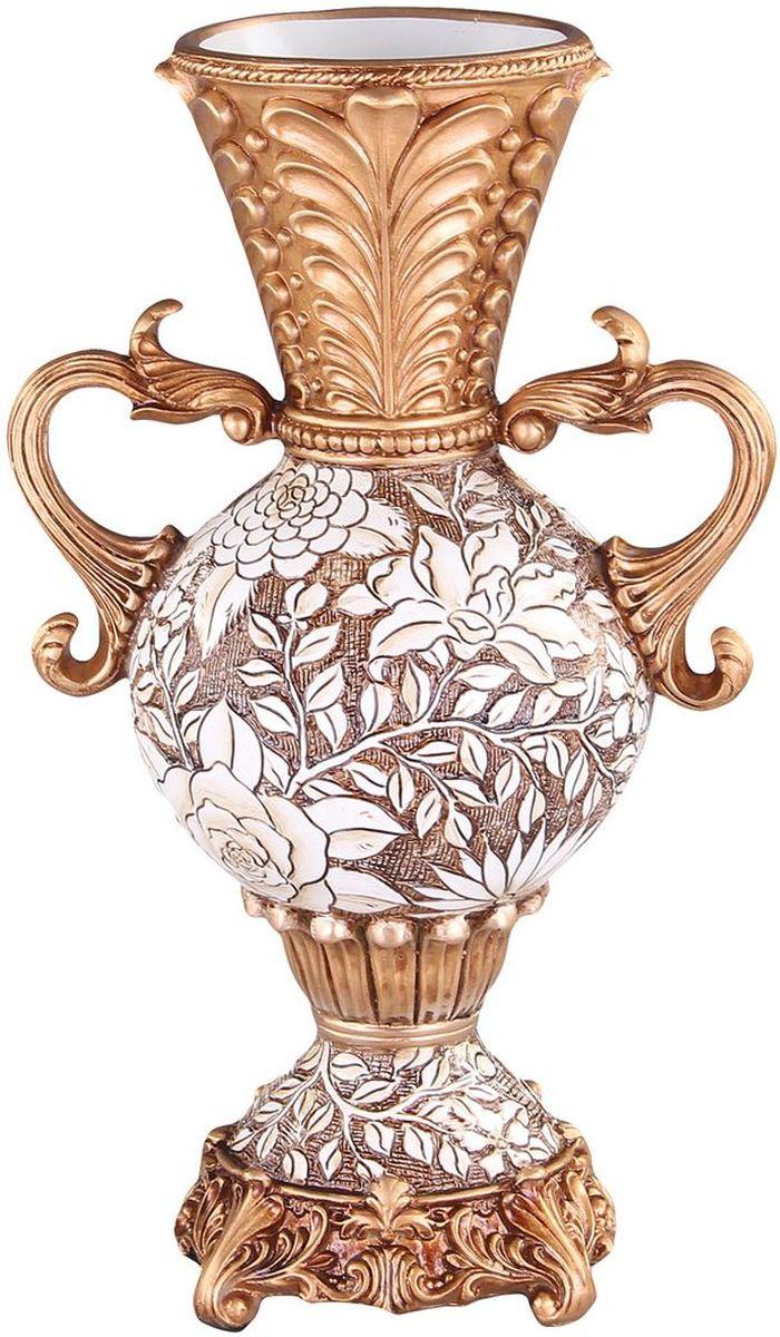 Ваза декоративная 40 см PATRICIAIM99-1218Ваза выполнена из полистоуна, изделие украшена позолотой и цветочным принтом. Вазу можно использовать не только для цветов но и как отдельный элемент декора.