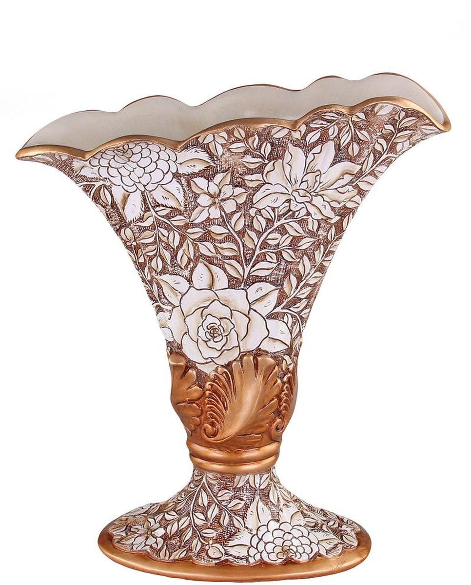 Ваза декоративная 43 см PATRICIAIM99-1219Ваза выполнена из полистоуна, изделие украшена позолотой и цветочным принтом. Вазу можно использовать не только для цветов но и как отдельный элемент декора.