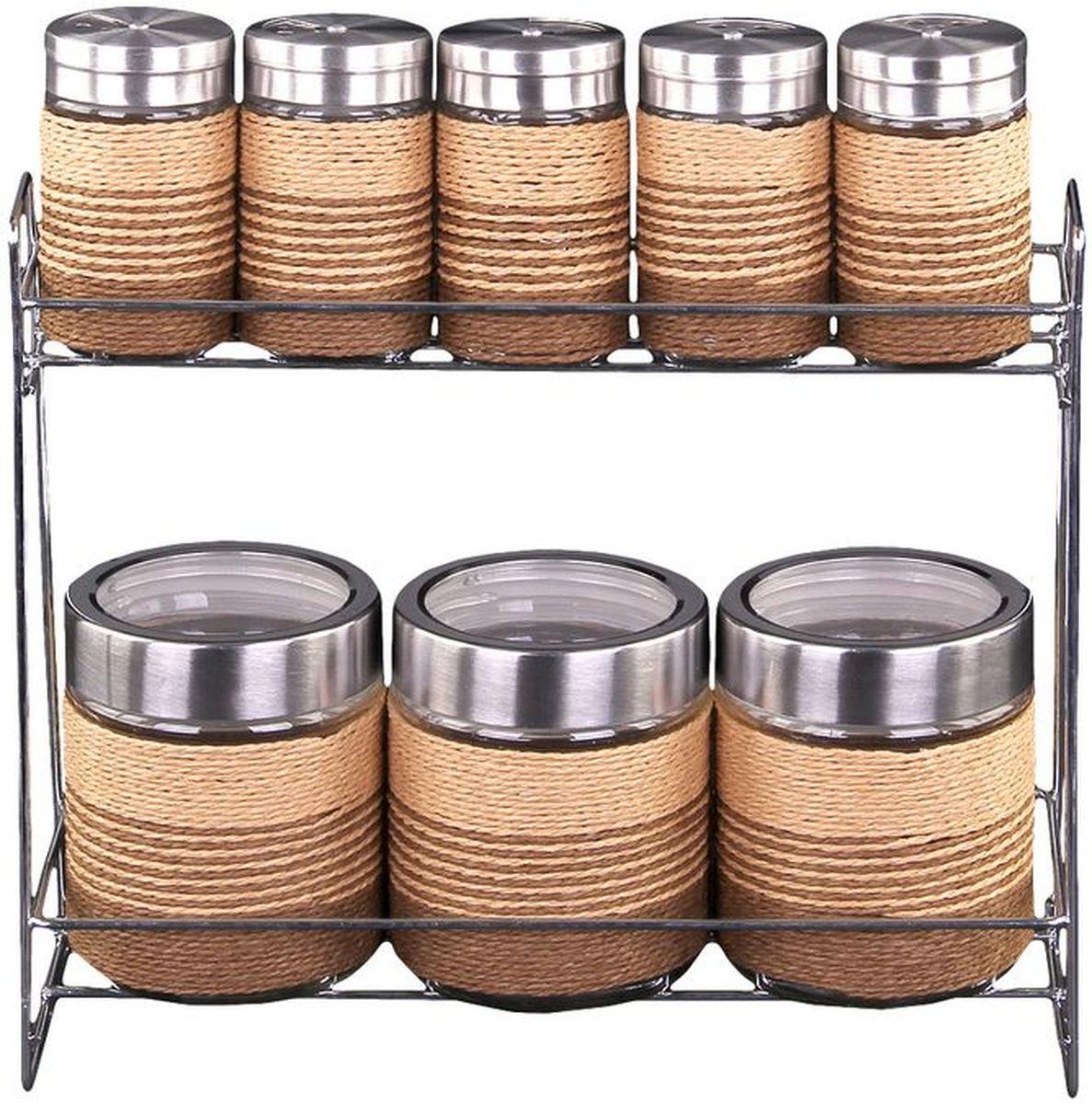 Набор банок для сыпучих продуктов и специй 8 предметов на металлической подставке, шт, PATRICIAIM99-3910