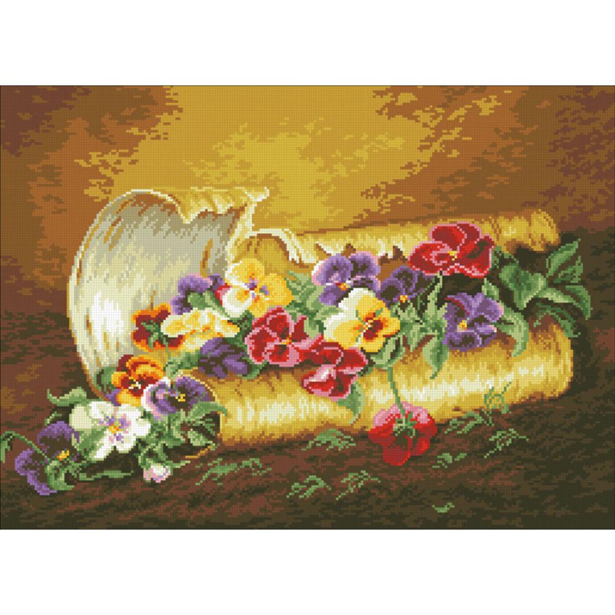 Набор для изготовления картины со стразами Паутинка Анютины глазки, 58 х 42 см486469Состав набора: мозаика — 28 цветов, холст с нанесенным рисунком и клеевым слоем, пинцет, подробная инструкция.