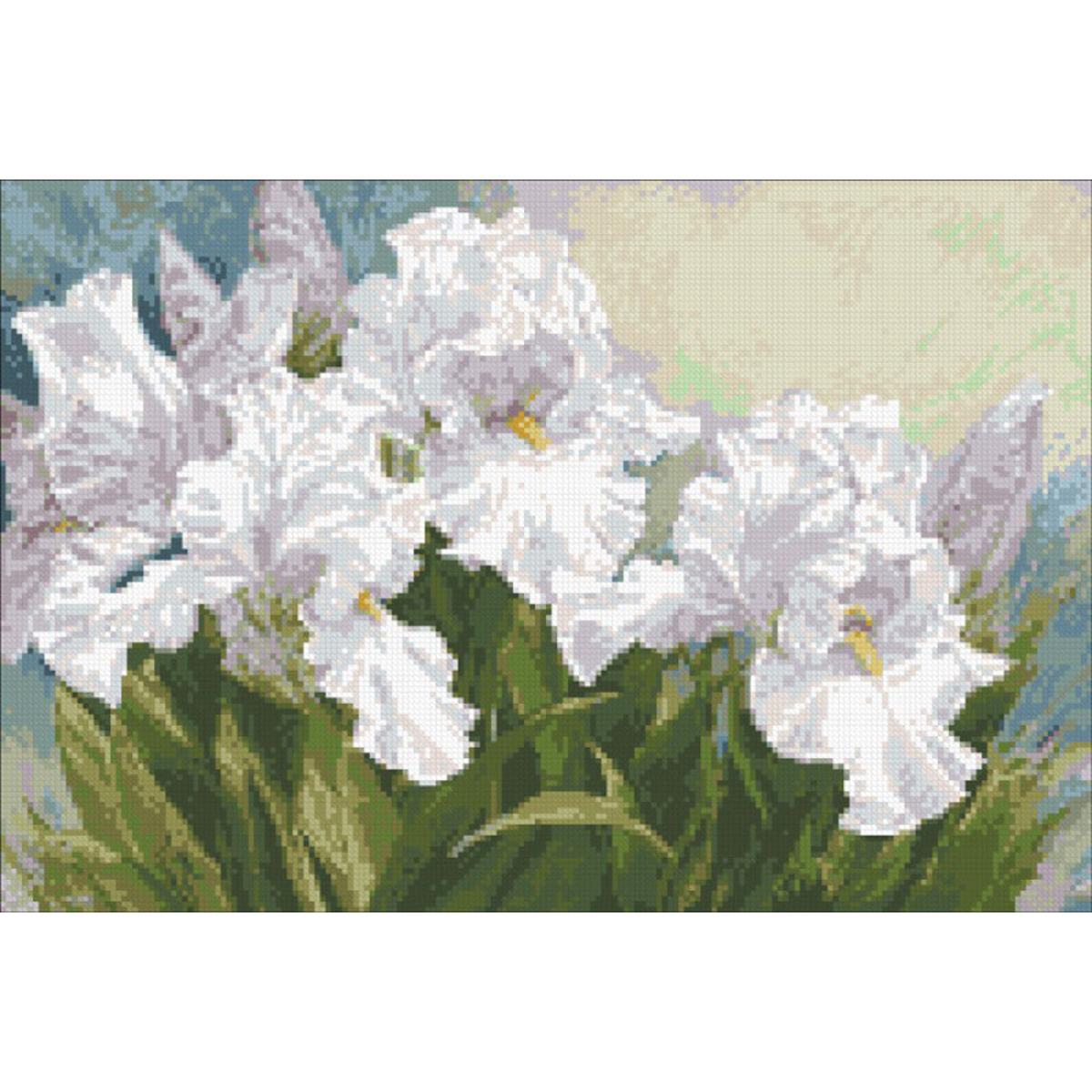 Набор для изготовления картины со стразами Паутинка Белые ирисы, 46 х 31 см486473Состав набора: мозаика — 26 цветов, холст с нанесенным рисунком и клеевым слоем, пинцет, подробная инструкция.