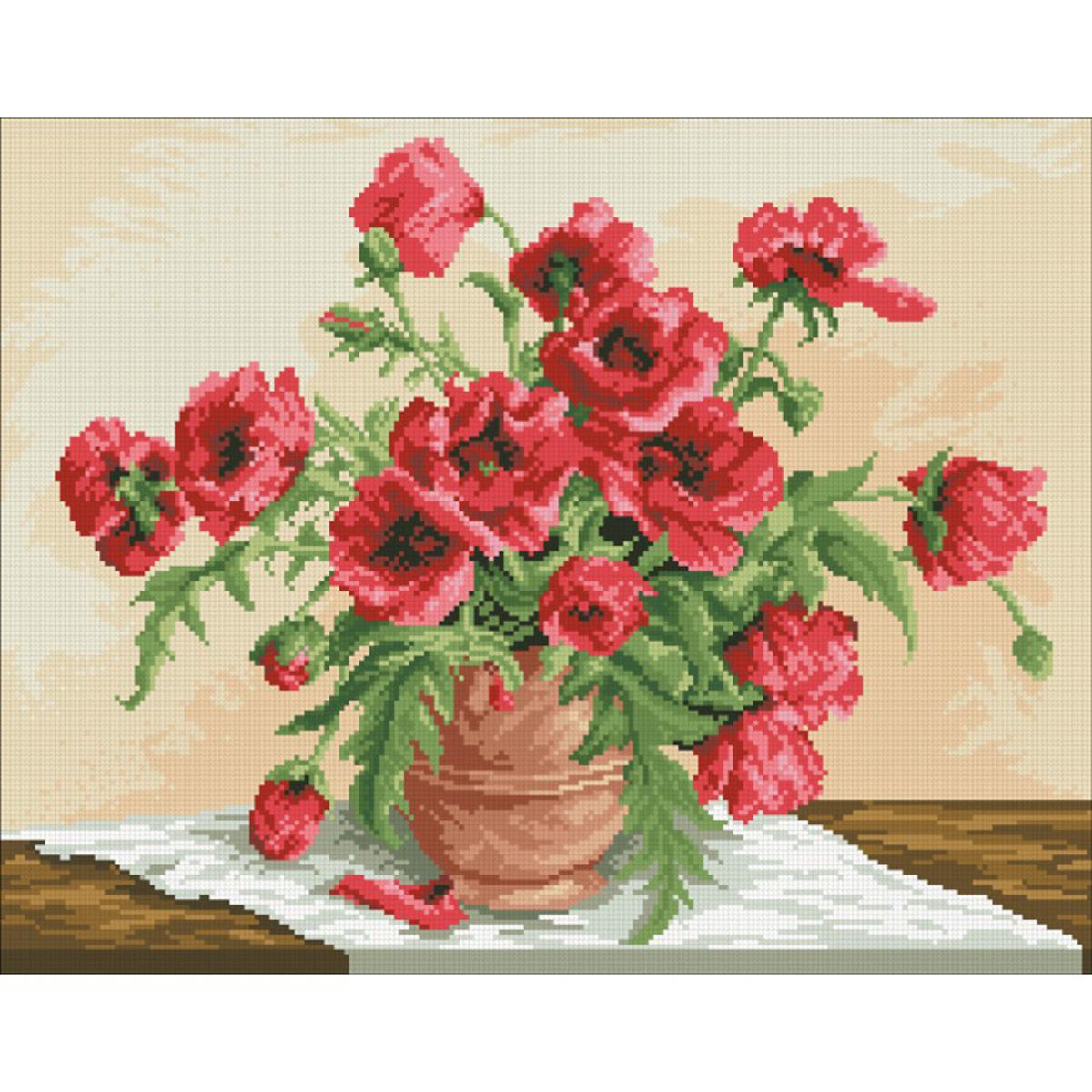 Набор для изготовления картины со стразами Паутинка Маковый букет, 51 х 40 см486724Состав набора: мозаика — 26 цветов, холст с нанесенным рисунком и клеевым слоем, пинцет, подробная инструкция.