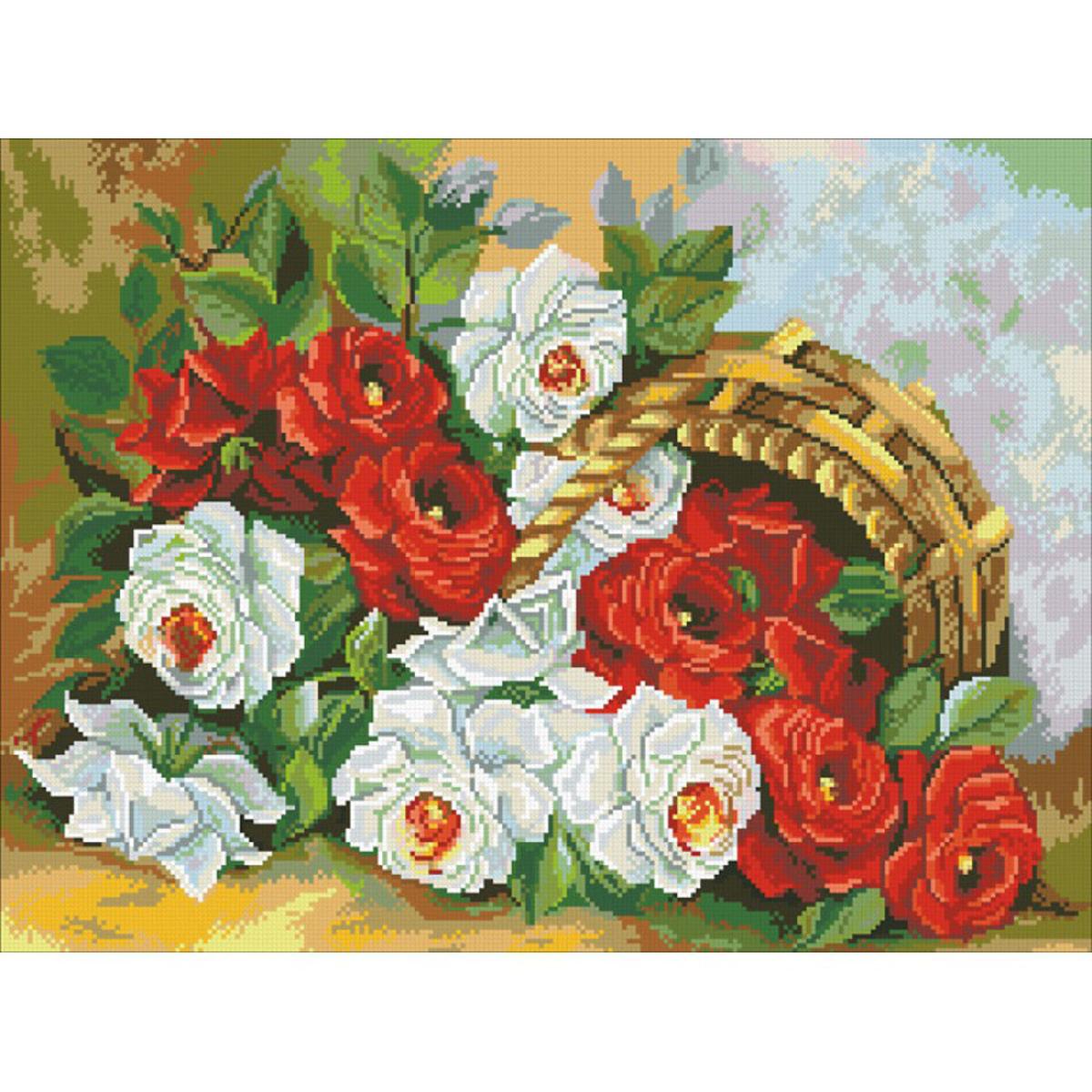 Набор для изготовления картины со стразами Паутинка Корзина роз, 41 х 55 см486727Состав набора: мозаика — 32 цвета, холст с нанесенным рисунком и клеевым слоем, пинцет, подробная инструкция.