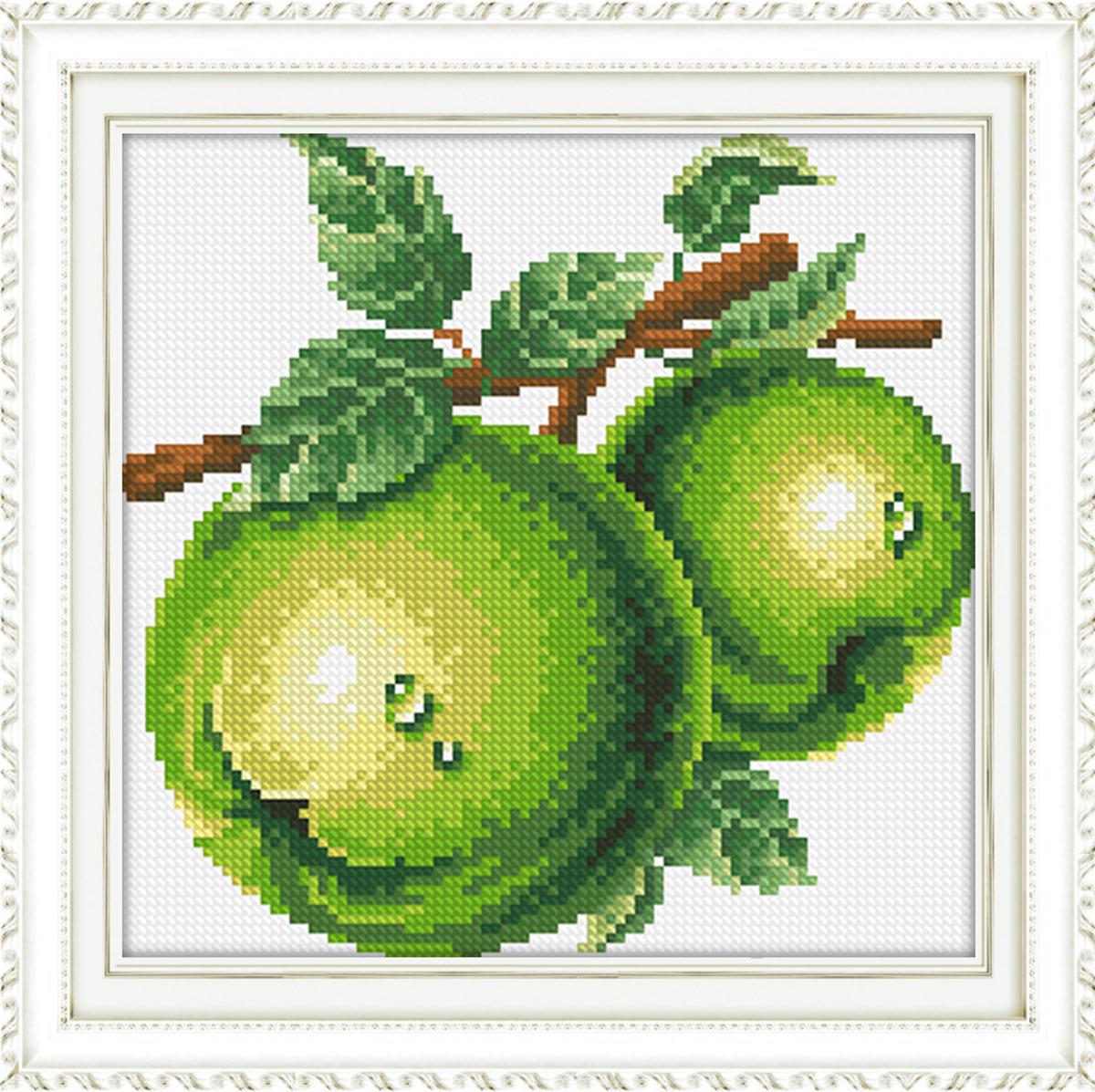 Набор для изготовления картины со стразами Алмазная Живопись Зеленые яблоки, 26 х 23 см581704В состав набора входит: полотно-схема с клеевым слоем, с условными обозначениями, инструкция, пластиковое блюдце, пинцет, упакованные стразы.