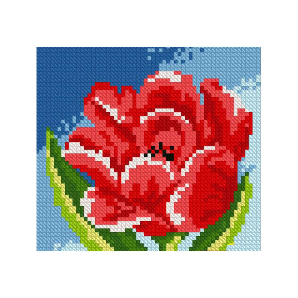 Набор для изготовления картины со стразами Алмазная Живопись Красный тюльпан, 15 х 15 см581705В состав набора входит: полотно-схема с клеевым слоем, с условными обозначениями, инструкция, пластиковое блюдце, пинцет, упакованные стразы.