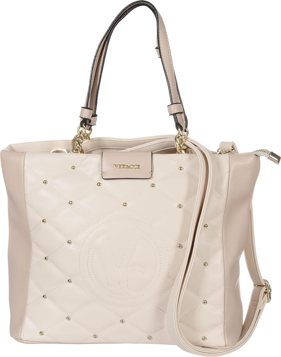 Сумка женская Vitacci, цвет: пудровый. 63505-463505-4Изысканная женская сумка Vitacci из искусственной кожи, оформлена декоративной прострочкой и фурнитурой золотистого цвета. Сумка закрывается на замок-молнию. Ручки сумки комбинированные, состоят из оригинальной плетеной металлической цепочки и кожи. Внутри два глубоких отделения, разделенные карманом-средником на молнии. Вместительные внутренние отделения содержат два накладных кармана для телефона и мелких принадлежностей, а также врезной карман на молнии. Лицевая сторона украшена вышитым декоративным элементом с логотипом фирмы. Снаружи на задней стенке сумки размещен вшитый карман на молнии. Сумка оснащена съемным плечевым ремнем регулируемой длины, которые позволят носить изделие как в руках так и на плече. Роскошная сумка внесет элегантные нотки в ваш образ и подчеркнет ваше отменное чувство стиля.