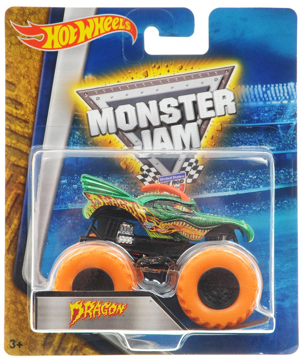 Hot Wheels Monster Jam Машинка Dragon цвет колес оранжевыйBHP37_DRR60Машинка Hot Wheels Monster Jam. Dragon - это знаменитая модель легендарного автомобиля с большими колесами в масштабе 1:64. Литой корпус, сверкающая кабина, внушительный вид. Внедорожник с неповторимым тюнингом оценят как дети, так и взрослые! Детали игрушки выполнены из высококачественных материалов и абсолютно безопасны для детей. Порадуйте своего малыша таким замечательным подарком!