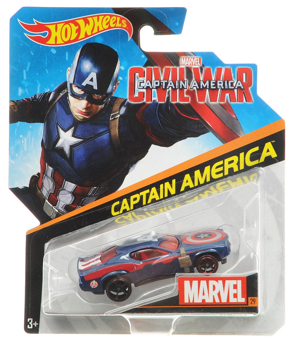 Hot Wheels Avengers Машинка Captain AmericaBDM71_DJJ57Машинка Hot Wheels Captain America непременно приведет в восторг вашего малыша. Игрушка изготовлена из высококачественного пластика с элементами металла в стиле одного из персонажей комиксов Marvel - капитана Америки. Колесики машинки вращаются. Ваш ребенок будет часами играть с этой машинкой, придумывая различные истории. Порадуйте его таким замечательным подарком.
