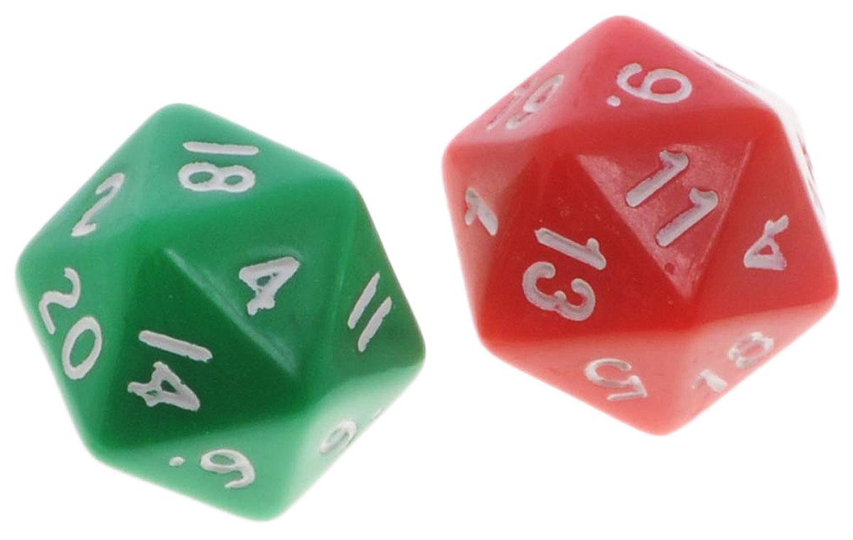 Koplow Games Набор игральных костей Простые D20 цвет зеленый красный 2 шт29420_ зеленый,красныйНабор игральных костей Koplow Games Простые D20 предназначен для настольных игр. Набор состоит из двух двадцатигранных костей. На каждую грань игральной кости нанесены числа от 1 до 20. С помощью игральной кости происходит определение случайного числа, выпадение каждого из которых является равновозможным благодаря правильной геометрической форме. Игральные кости выполнены из прочного пластика. Уважаемые клиенты! Обращаем ваше внимание на то, что цвет цифр на игральных костях может отличаться от представленного на изображении. Поставка осуществляется в зависимости от наличия на складе.