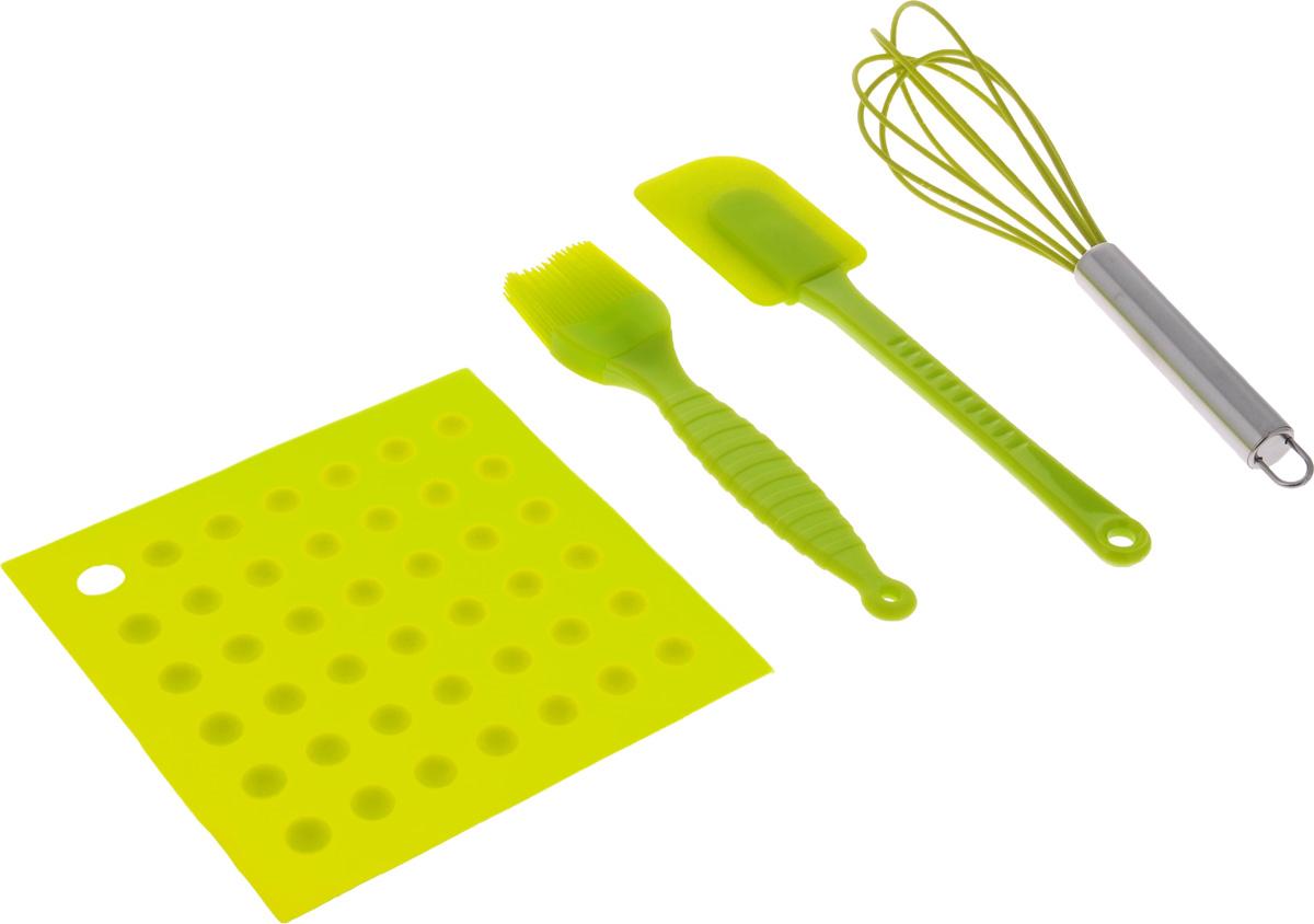Набор кулинарный Mayer & Boch, силиконовый, цвет: светло-зеленый, 4 предмета4484-3Кулинарный набор Mayer & Boch, состоящий из лопатки, кулинарной кисти, венчика и силиконового коврика-подставки, предназначен для приготовления выпечки. Предметы набора выполнены из высококачественного пищевого силикона с естественным антипригарным покрытием. Коврик служит подставкой для приспособлений, поэтому поверхность стола всегда останется чистой. Изделия из силикона не взаимодействуют с продуктами и не впитывают их запахи, также устойчивы к фруктовым кислотам. Их можно использовать при температуре от +210°С до -40°С. Длина венчика: 25 см. Длина лопатки: 25 см. Длина кисти: 20,5 см. Размер коврика-подставки: 17,5 х 17,5 см.