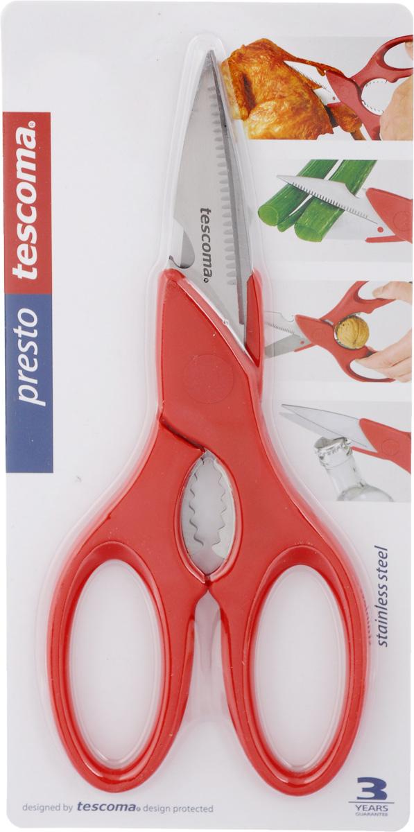 Ножницы Tescoma Presto, мультифункциональные, цвет: красный, длина 22 см888225_красныйНожницы Tescoma Presto, легкие и удобные в использовании, изготовлены из первоклассной нержавеющей стали. Ручки выполнены из прочной пластмассы. Мультифункциональные ножницы пригодны для разделки птицы, обработки овощей, резки бумаги, текстиля, колки орехов, открывания бутылок. Общая длина ножниц: 22 см. Длина лезвия: 8,5 см