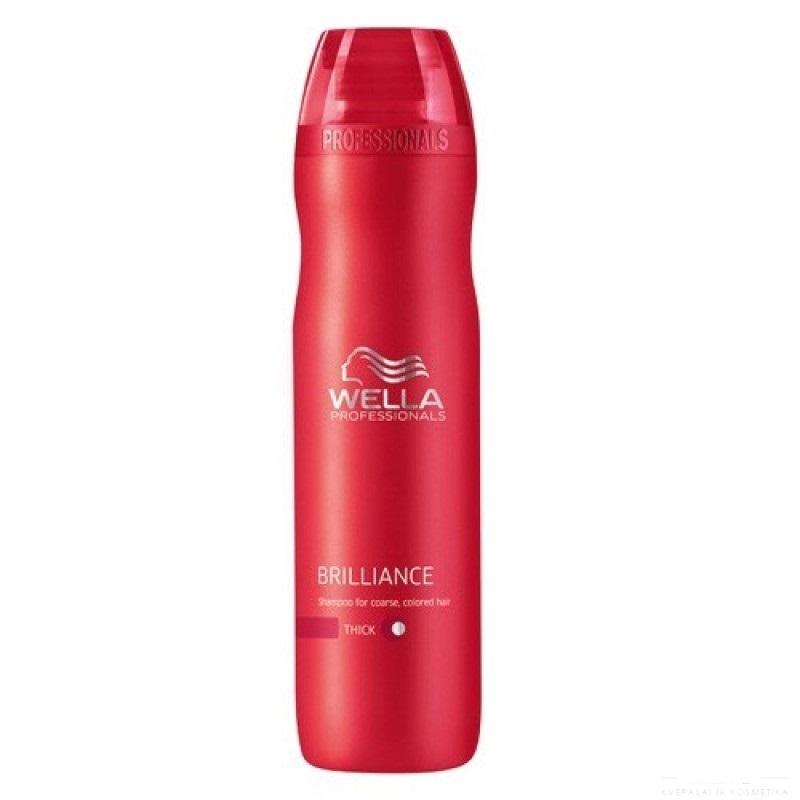 Wella Шампунь Brilliance Line для окрашенных жестких волос, 250 мл115685Для придания мягкости и сияющего блеска окрашенным жестким волосам, а также для защиты цвета от вымывания используйте Шампунь Wella линии Brilliance Professionals для окрашенных жестких волос. Средство имеет в своем составе бриллиантовую пыльцу, которая придает волосам мягкость и шелковистость. Благодаря уникальной формуле, надолго сохраняется стойкость цвета. За счет воздушной кремовой текстуры шампунь легко распределяется по волосам, обволакивает и защищает каждый волос, делает их более гладкими и мягкими. Результат использования: шампунь придает вашим локонам мягкость и сияющую яркость цвета, делает их более блестящими и послушными.