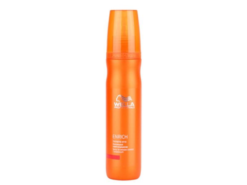 Wella Питательный спрей-кондиционер Enrich Line, 150 мл117061Питательный спрей-кондиционер это отличное средство для увлажнения волос, для нормализации работы волосяных фолликул. Спрей не просто восстанавливает поврежденную структуру волос, он еще и тонизирует волосы. Особенно эффективным он оказывается для ослабленных, тонких волос. Кроме того, средство оказывает укрепляющее действие, оно обладает теплозащитным эффектом, увлажняет ваши локоны, насыщает их полезными веществами. Спрей-кондиционер содержит экстракт шелка и пантенол и считается подходящей основой для легкого стайлинга. Спрей от Wella придает волосам мягкость шелка. В результате волосы легко расчесываются и укладываются. Также в средство входят витамин Е, глиоксиловая кислота, эксклюзивная салонная формула.