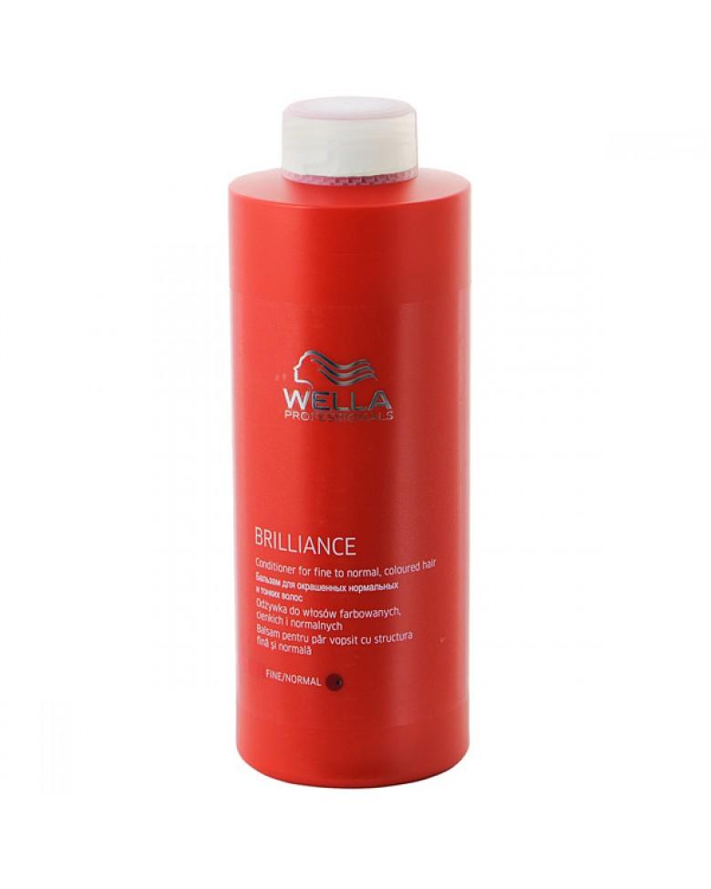 Wella Бальзам Brilliance Line для окрашенных нормальных и тонких волос, 1000 мл117719Для смягчения и увлажнения волос используйте Бальзам для окрашенных нормальных и тонких волос. Благодаря ухаживающей формуле, оказывается комплексное воздействие на волосы и кожу головы, активно поддерживается блеск и сияние цвета. Кроме того, используя средство для окрашенных волос, вы сделаете каждый волос более мягким и гладким, обеспечите антистатический эффект. Как результат, волосы становятся упругими и сильными, послушными, мягкими и шелковистыми. Теперь они надежно защищены от негативных внешних факторов. В составе имеются витамин E, катионоактивный полимер, бриллиантовая пыльца, глиоксиловая кислота, экстракт орхидеи, пантенол.