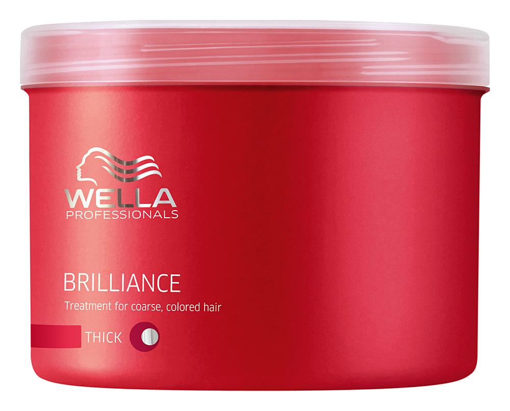 Wella Маска Brilliance Line для окрашенных жестких волос, 500 мл122409Для усиления блеска и яркости цвета используйте маску для окрашенных жестких волос. Помимо придания необыкновенного сияния и блеска, маска Wella, имеющая в составе бриллиантовую пыльцу, создает объем при укладке, отлично ухаживает за волосами после окрашивания, делает их более мягкими и послушными. Маска имеет нежную текстуру, благодаря чему легко наносится и отлично впитывается, наполняет волосы силой и упругостью. Результат: использование маски для окрашенных жестких волос приводит к усилению яркости и блеска, увеличению плотности структуры волоса.