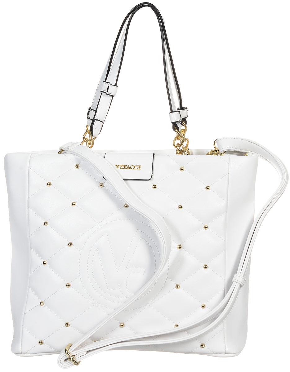 Сумка женская Vitacci, цвет: белый. 63505-263505-2Изысканная женская сумка Vitacci из искусственной кожи оформлена декоративной прострочкой и фурнитурой золотистого цвета. Она закрывается на застежку-молнию. Ручки сумки комбинированные, состоят из оригинальной плетеной металлической цепочки и кожи. Одно вместительное отделение разделено карманом-средником на молнии. Внутри расположены два накладных кармана для телефона и мелких принадлежностей, а также врезной карман на молнии. Лицевая сторона украшена вышитым декоративным элементом с логотипом бренда. Снаружи на задней стенке сумки размещен вшитый карман на молнии. Сумка оснащена съемным плечевым ремнем регулируемой длины. Роскошная сумка внесет элегантные нотки в ваш образ и подчеркнет ваше отменное чувство стиля.