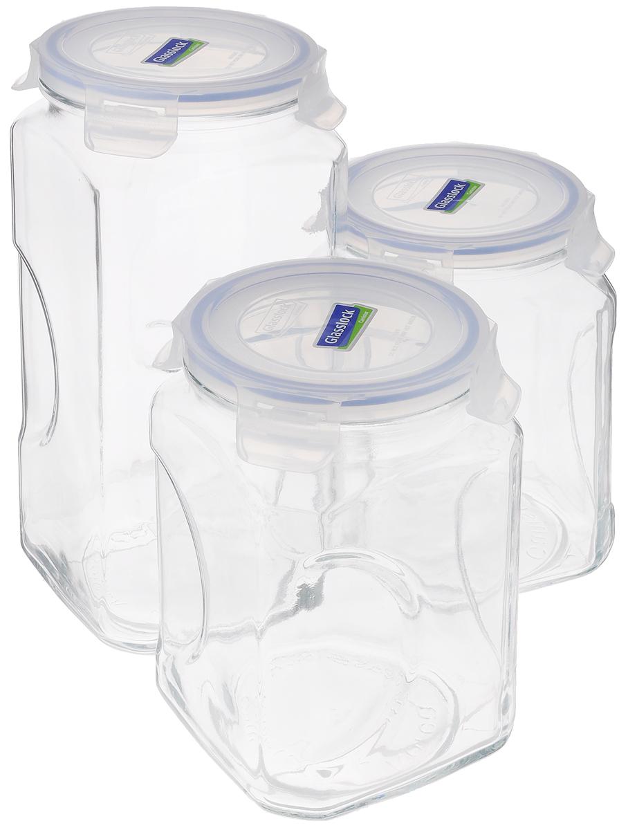 Набор контейнеров для сыпучих продуктов Glasslock, цвет: прозрачный, синий, 3 предметаIG-534Набор для сыпучих продуктов Glasslock включает в себя 3 контейнера разного объема. Изделия изготовлены из высококачественного закаленного ударопрочного стекла и оснащены плотно закрывающимися пластиковыми крышками с 4 защелками. Благодаря уплотнительной резинке, крышки герметичны. Контейнеры прекрасно подходят для хранения чая, кофе, сахара, специй, орехов , солений и других продуктов. Можно мыть в посудомоечной машине. Объем контейнеров: 2 л, 3 л. Диаметр контейнеров по верхнему краю: 11,5 см. Высота контейнеров (с учетом крышки): 19 см; 27 см.