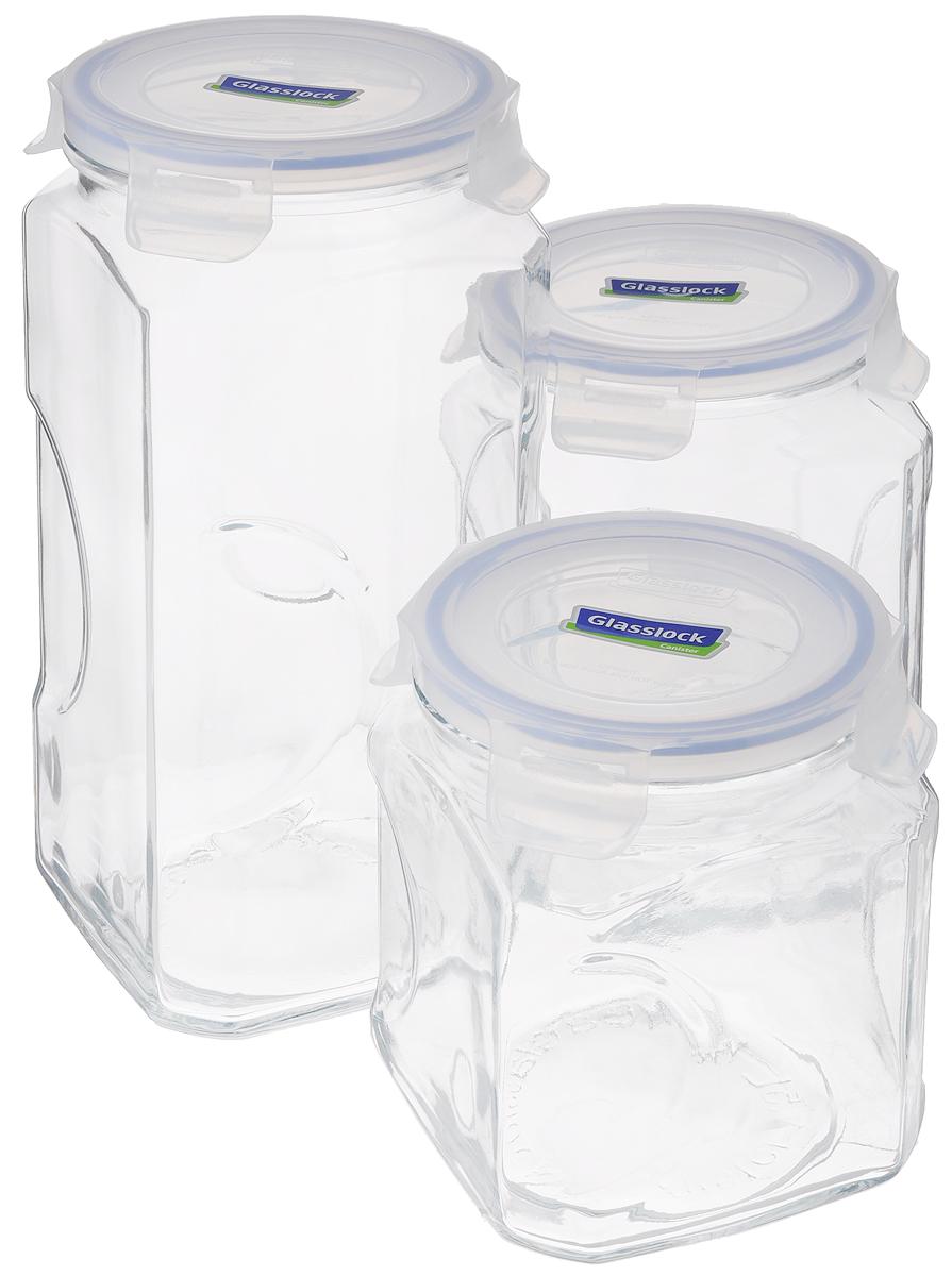 Набор контейнеров для сыпучих продуктов Glasslock, цвет: прозрачный, синий, 3 предмета. IG-535IG-535Набор для сыпучих продуктов Glasslock включает в себя 3 контейнера разного объема. Изделия изготовлены из высококачественного закаленного ударопрочного стекла и оснащены плотно закрывающимися пластиковыми крышками с 4 защелками. Благодаря уплотнительной резинке, крышки герметичны. Контейнеры прекрасно подходят для хранения чая, кофе, сахара, специй, орехов , солений и других продуктов. Можно мыть в посудомоечной машине. Объем контейнеров: 1,5 л; 2 л; 3 л. Диаметр контейнеров по верхнему краю: 11,5 см. Высота контейнеров (с учетом крышки): 15,5 см; 19 см; 27 см.