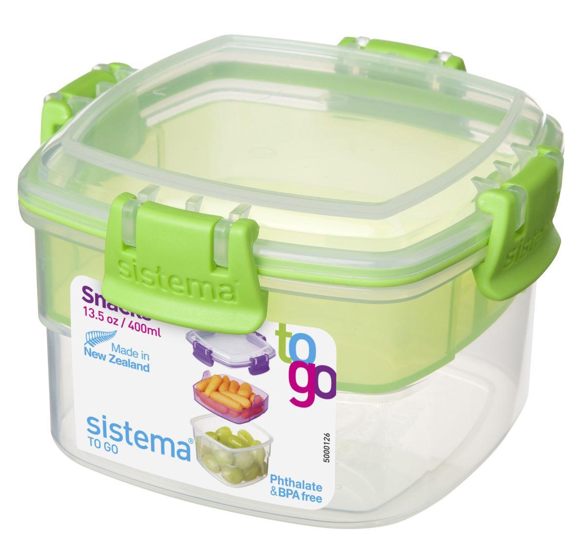 Контейнер Sistema TO-GO, двухуровневый, цвет: салатовый, 400 мл21320_салатовый