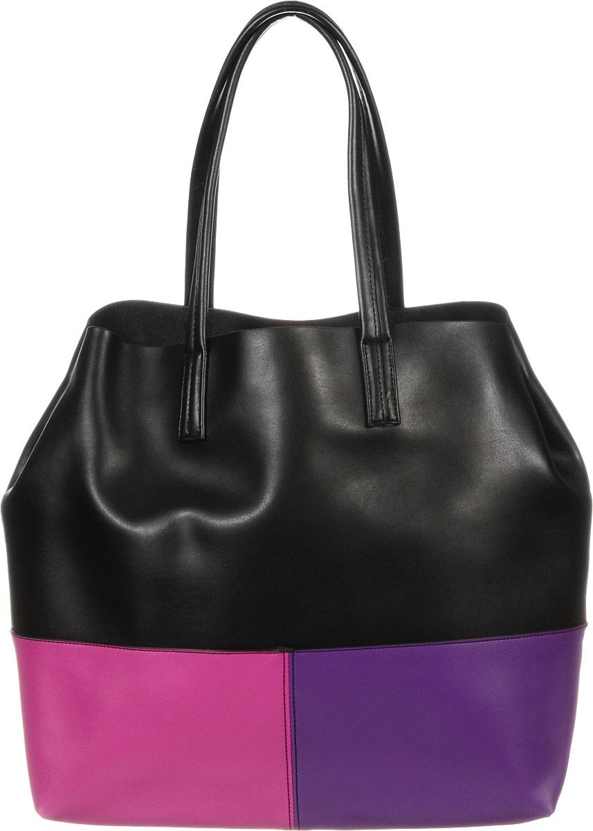 Сумка женская Vitacci, цвет: черный, фиолетовый, фуксия. J0075J0075Изысканная женская сумка Vitacci выполнена из качественной натуральной кожи. Она закрывается на застежку-молнию. Удобные ручки пришиты к корпусу сумки. Внутри одно глубокое съемное отделение выполненное из текстиля, по бокам прикрепленное к кожаной основе кнопками. Вместительное внутреннее отделение содержит два накладных кармана для телефона и мелких принадлежностей, а также врезной карман на молнии. Бока сумки фиксируются кнопками. Снаружи на задней стенке находится прорезной карман на застежке-молнии. Практичная и стильная сумка прекрасно завершит ваш образ.
