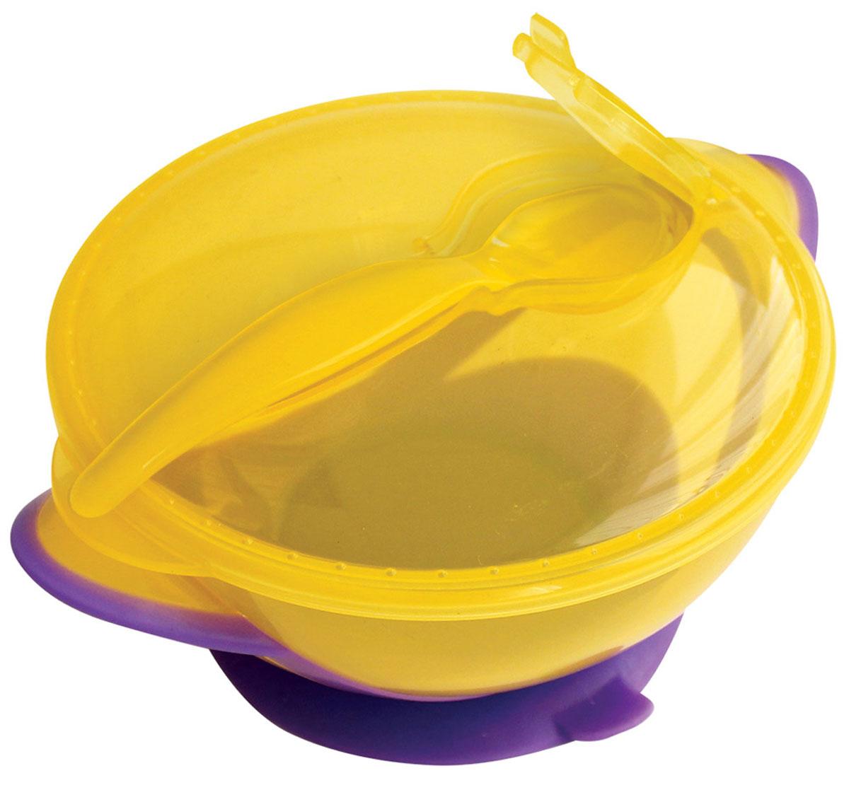 Lubby Тарелка детская Классика с ложкой цвет фиолетовый желтый