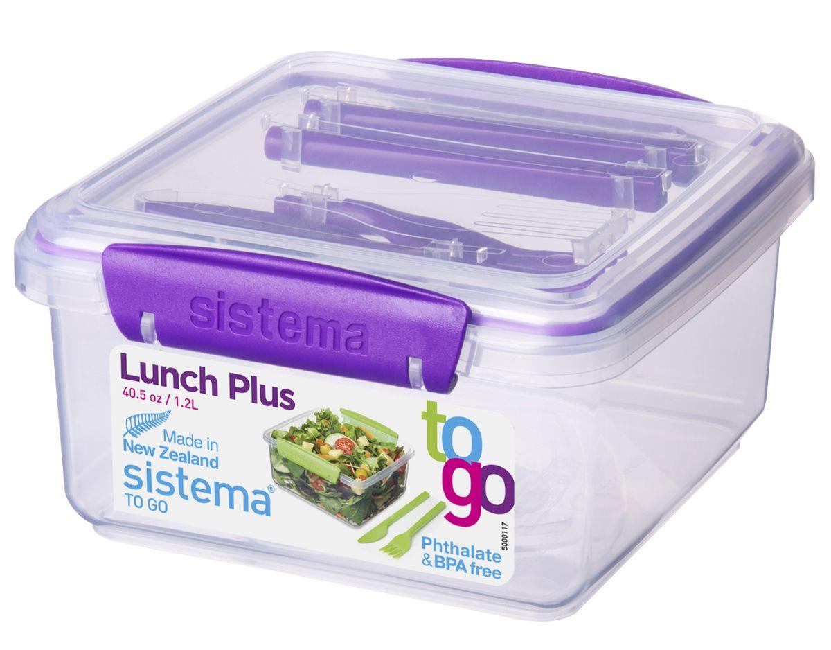 Контейнер Sistema TO-GO, с приборами, цвет: фиолетовый, 1,2 л21652_фиолетовый