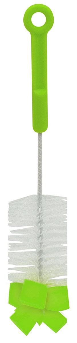Lubby Ершик для бутылочек цвет салатовый4543_салатовыйЕршик для бутылочек Lubby станет незаменимым атрибутом ухода за детской посудой. Благодаря щетинкам из прочного нейлона и наконечнику с губкой, он легко очищает самые труднодоступные части детских бутылочек. Он также подходит для мытья фигурных бутылочек, термосов, стаканов и другой детской посуды.