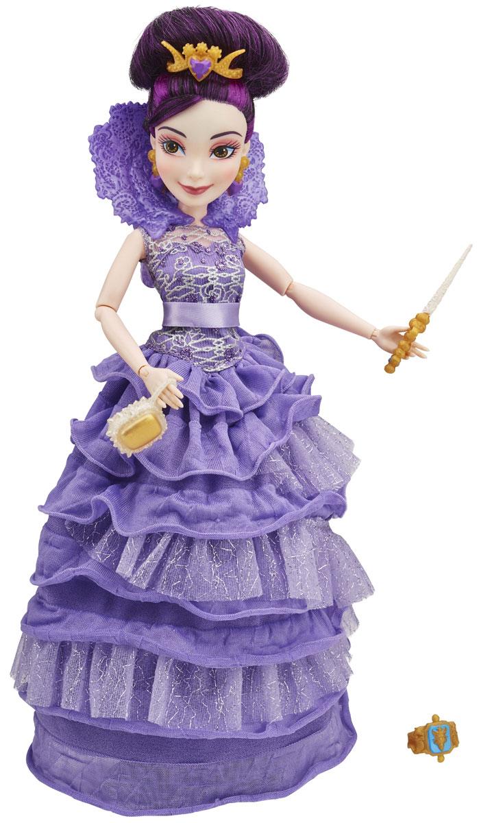 Disney Descendants Кукла МэлB3120_МэлКукла Disney Descendants Мэл - дочь Малефисенты, вместе со своими друзьями собирается на коронацию. Для этого она подобрала потрясающий наряд, который обязательно привлечет внимание вашей малышки. Платье куклы сшито из ткани фиолетового цвета. Облегающий верх платья покрыт гипюром, роскошный воротник переносит нас в эпоху ренессанса, а пышный подол, сотканный из нескольких слоев ткани разной текстуры, похож на колокол. Фиолетовые волосы Мэл собраны в высокий пучок. Однако вы сможете изменить образ куклы, распустив волосы и причесав их. Украшает прическу золотистая тиара с фиолетовым сердечком в самом центре. Также в наборе есть миниатюрная сумочка, туфли, волшебная палочка и кольцо, предназначенное для хозяйки куклы. Вы сможете придать кукле абсолютно любую позу, ведь у нее сгибаются руки, ноги, вращаются кисти и поворачивается голова в разные стороны. Мэл сможет позировать для фотографий на королевском приеме, показывая все достоинства своего прекрасного наряда.