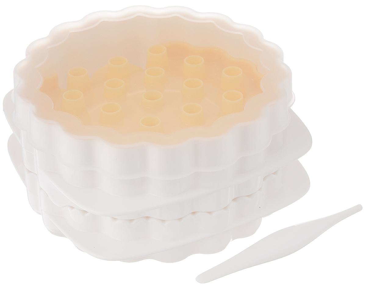Набор для приготовления вареников Tescoma Delicia, 6 предметов630881Набор Tescoma Delicia, выполненный из высококачественного пластика, состоит из формы, 3 решеток, крышки и шпателя. Он отлично подходит для приготовления сладких и соленых вареников с тремя различными узорами на тесте. Прилагается инструкция по применению с рецептами. Можно мыть в посудомоечной машине. Размер формы (без учета крышки): 12 х 12 х 6,5 см. Размер решетки: 11 х 9,5 см. Длина шпателя: 8,5 см.