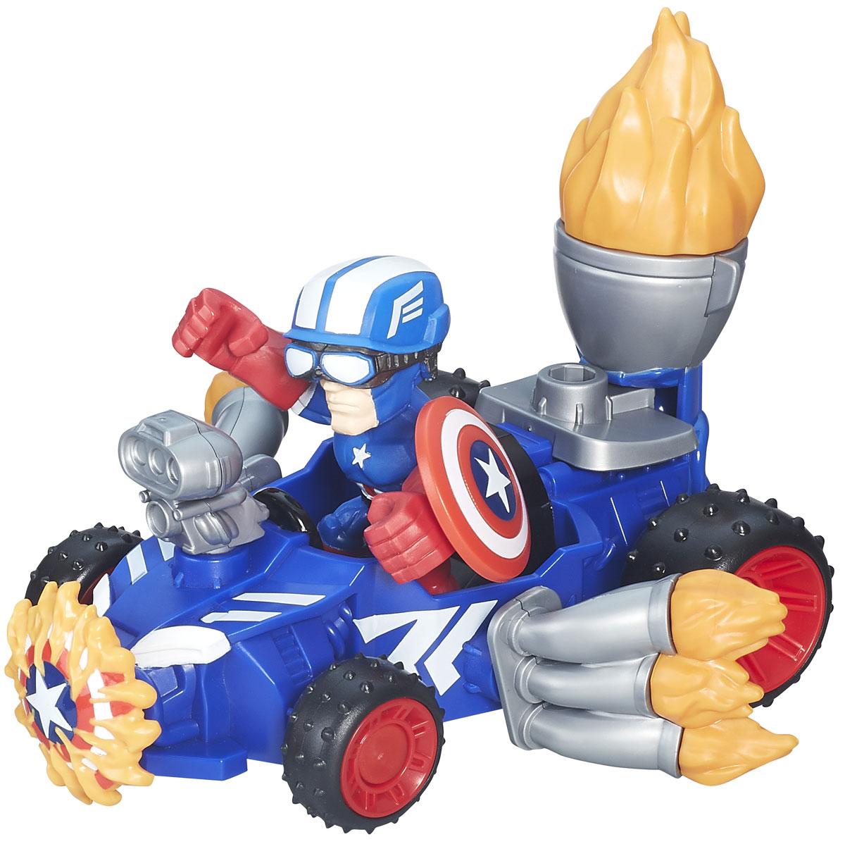 Heromashers Набор фигурок Captain America RacerB6433EU4_6686_синийНабор фигурок Heromashers Captain America Racer станет отличным подарком для фанатов Капитана Америки! В набор входит фигурка Капитана Америки со щитом и шлемом, а также автомобиль супергероя. Руки фигурки взаимозаменяемы с фигурками других супергероев этой серии игрушек. Соберите всю коллекцию фигурок Heromashers и устройте грандиозную битву!