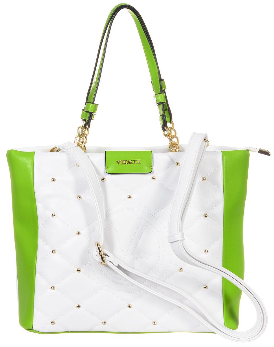 Сумка женская Vitacci, цвет: белый, зеленый. 63505-363505-3Изысканная женская сумка Vitacci из искусственной кожи, оформлена декоративной прострочкой и фурнитурой золотистого цвета. Сумка закрывается на замок-молнию. Ручки сумки комбинированные, состоят из оригинальной плетеной металлической цепочки и кожи. Внутри два глубоких отделения, разделенные карманом-средником на молнии. Вместительные внутренние отделения содержат два накладных кармана для телефона и мелких принадлежностей, а также врезной карман на молнии. Лицевая сторона украшена вышитым декоративным элементом с логотипом фирмы. Снаружи на задней стенке сумки размещен вшитый карман на молнии. Сумка оснащена съемным плечевым ремнем регулируемой длины, которые позволят носить изделие как в руках так и на плече. Роскошная сумка внесет элегантные нотки в ваш образ и подчеркнет ваше отменное чувство стиля.