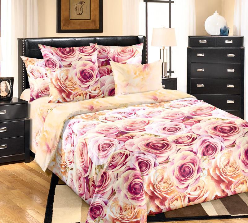 Комплект белья Текс-Дизайн Романс, евро 1, наволочки 70х704200ПВеликолепное постельное белье Текс-Дизайн Романс выполнено из высококачественного перкаля (100% хлопок) и украшено роскошным цветочным рисунком. Комплект состоит из пододеяльника, простыни и двух наволочек. Перкаль - это тонкая и легкая хлопчатобумажная ткань высокой плотности полотняного переплетения, сотканная из пряжи высоких номеров. При изготовлении перкаля используются длинноволокнистые сорта хлопка, что обеспечивает высокие потребительские свойства материала. Несмотря на свою утонченность, перкаль очень практичен - это одна из самых износостойких тканей для постельного белья.
