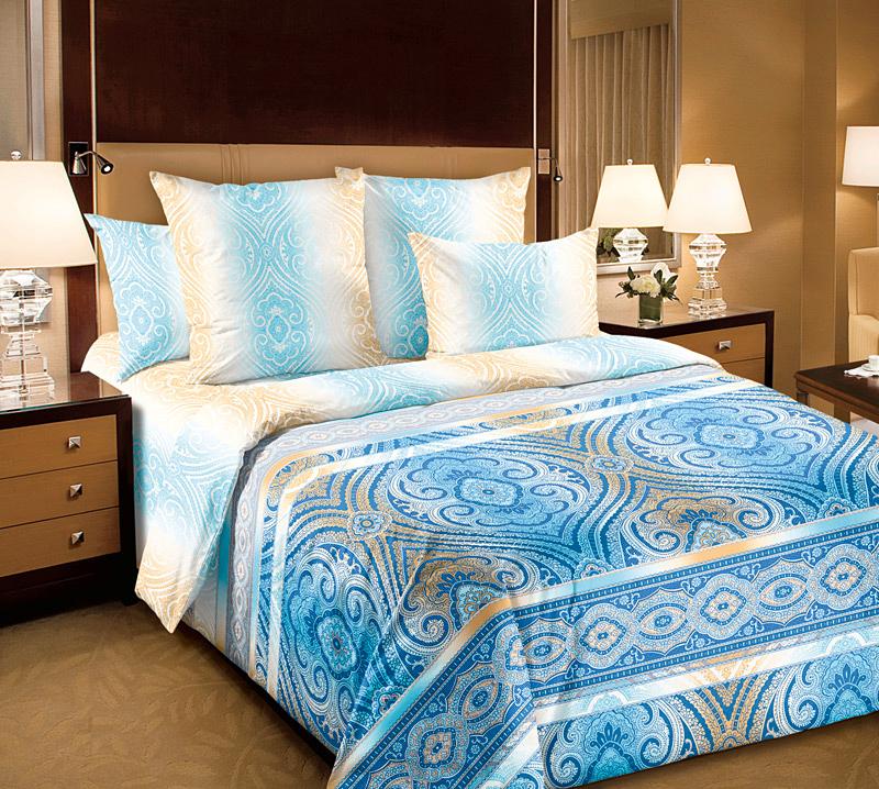 Комплект постельного белья Евро из Перкаль Фантазия 1 син. Евро1 2 нав. арт. 4250П4250ППеркаль - это тонкая и легкая хлопчатобумажная ткань высокой плотности полотняного переплетения, сотканная из пряжи высоких номеров. При изготовлении перкаля используются длинноволокнистые сорта хлопка, что обеспечивает высокие потребительские свойства материала. Несмотря на свою утонченность, перкаль очень практичен – это одна из самых износостойких тканей для постельного белья.