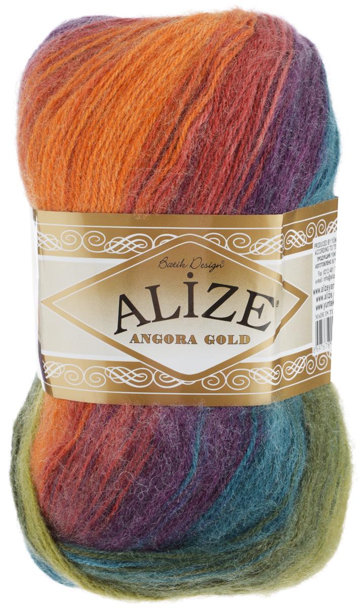 Пряжа для вязания Alize Angora Gold Batik, цвет: оранжевый, синий, оливковый (4827), 550 м, 100 г, 5 шт364112_4827Пряжа для вязания Alize Angora Gold Batik изготовлена из акрила, мохера и шерсти, что способствует прекрасному тепловому обмену, легкости и комфорту. Меланжевая ниточка тонкая, пушистая. Из данной пряжи получаются вещи, которые не требуют ни украшений, ни дополнений. Пряжа допускает самую простую и примитивную вязку, но при этом смотрится необычно благодаря своей цветовой палитре. Классическая зимняя пряжа секционного крашения для вязания теплых пушистых вещей. Пряжа отлично подходит для вязания свитеров, жилетов, шарфов, шапок, шалей. Рекомендуемый размер спиц: № 3-6, Рекомендуемый размер крючка: № 2-4 С такой пряжей для ручного вязания вы сможете связать своими руками необычные и красивые вещи. Состав: 80% акрил, 10% шерсть, 10% мохер.