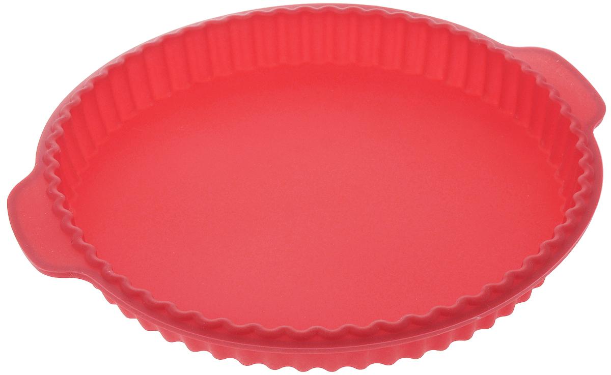 Форма для выпечки Calve, силиконовая, круглая, цвет: красный, 31,2 x 28 x 3,5 смCL-4601_красныйФорма для выпечки Calve, изготовленная из высококачественного силикона, выдерживающего температуру от -40°C до +230°C. Если вы любите побаловать своих домашних вкусным и ароматным угощением по вашему оригинальному рецепту, то форма Calve как раз то, что вам нужно! Можно использовать в духовом шкафу и микроволновой печи без использования режима гриль. Подходит для морозильной камеры и мытья в посудомоечной машине. Размер формы с учетом ручек: 31,2 x 28 см. Внутренний диаметр формы: 26 см. Высота формы: 3,5 см.