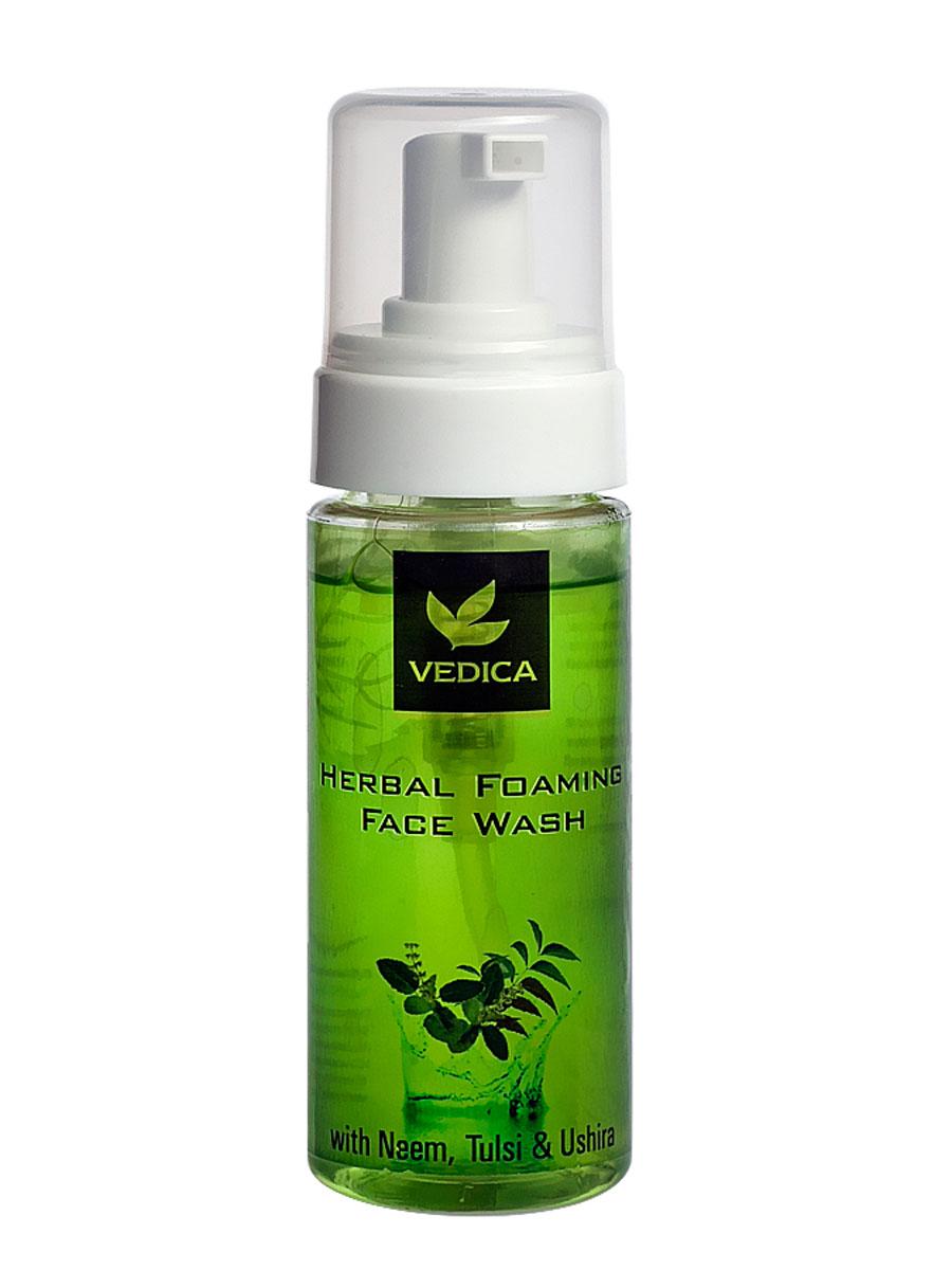 Vedica Пенка для умывания с Нимом, Тулси и Ветивером, 150 мл8906015081176Обладает выраженными антибактериальным и антисептическим свойствами. Освежает и охлаждает кожу лица. Очищает кожу, придает ей свежий, здлоровый вид. Для любого типа кожи.