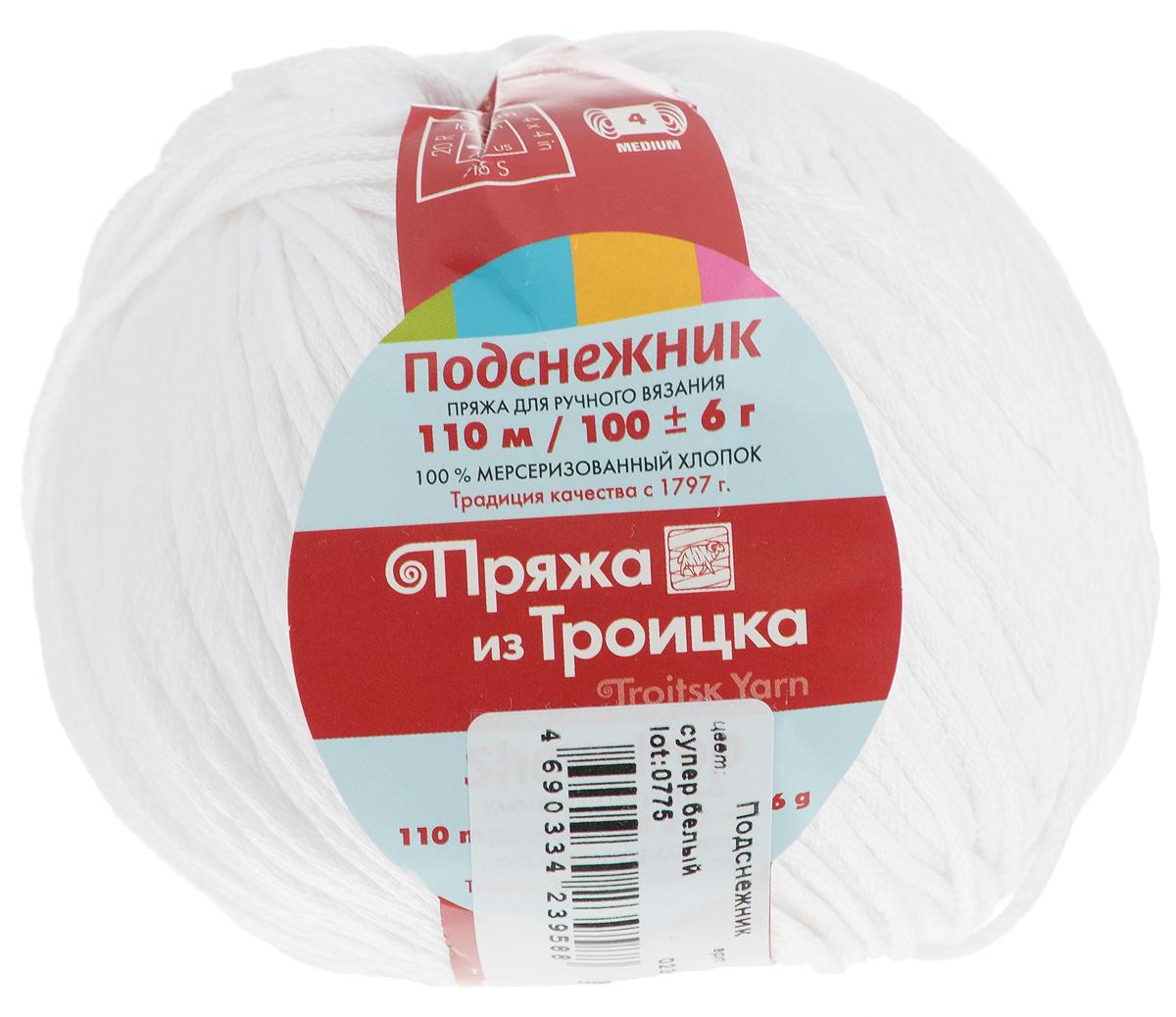 Пряжа для вязания Подснежник, цвет: супер белый (0236), 110 м, 100 г, 10 шт366132_0236Пряжа Подснежник, изготовленная из мерсеризованного хлопка, предназначена для ручного вязания. Толстая прочная пряжа плотно скручена из многих нитей. Изделия из этой пряжи не линяют и сохраняют после стирки не только цвет, но и форму. Подходит для вязания блузок, туник, платьев, болеро и другой летней повседневной и праздничной одежды. Состав: мерсеризованный хлопок. Рекомендуемые спицы: 4,5 мм.
