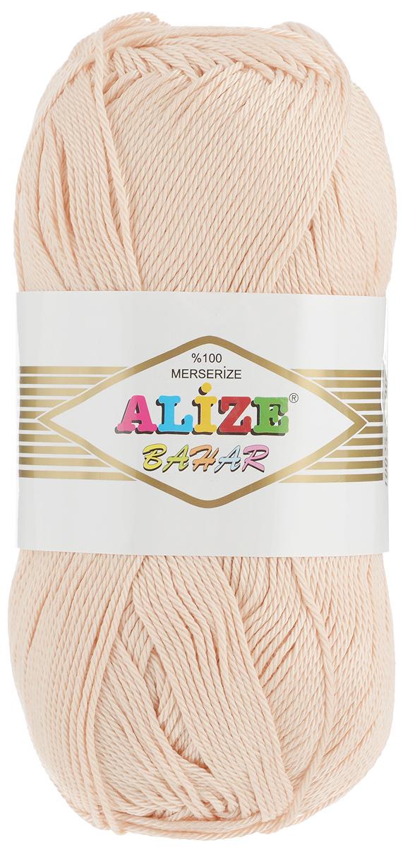 Пряжа для вязания Alize Bahar, цвет: светло-бежевый (160), 260 м, 100 г, 5 шт364089_160Пряжа Alize Bahar подходит для ручного вязания детям и взрослым. Пряжа однотонная, приятная на ощупь, хорошо лежит в полотне. Изготовлена из специально обработанного хлопка. Мерсеризация придает нити особый блеск. Пряжа Alize Bahar отлично подходит для работы и крючком, и спицами, послушно ложится в узоры любой сложности, предназначена для вывязывания летних легких вещей. В силу натуральности и экологической чистоты эта пряжа подходит и для детских вещей. Изделия из такой нити получаются мягкие и красивые. Рекомендуемый размер спиц: №3-5. Рекомендуемый размер крючка: №2-4. Состав: 100% мерсеризованный хлопок.