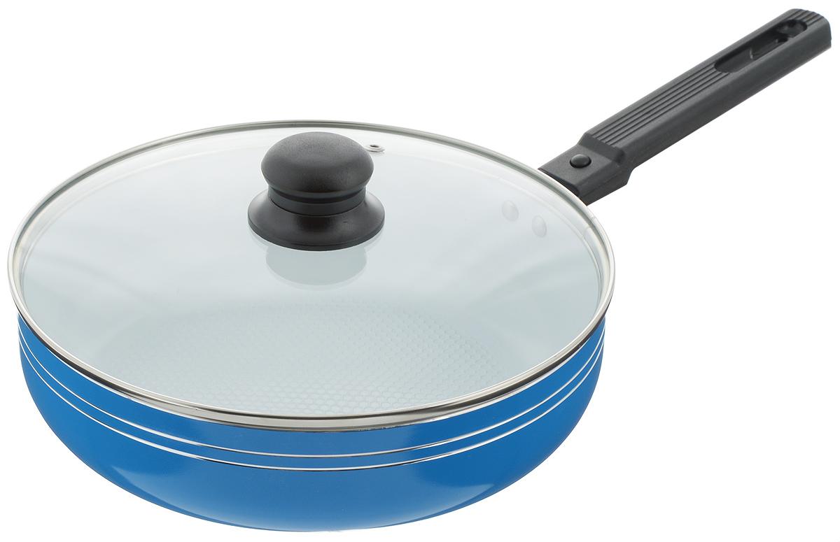 Сковорода-сотейник Добрыня с крышкой, с керамическим покрытием, со съемной ручкой, цвет: синий. Диаметр 24 см. DO-5011DO-5011Сковорода-сотейник Добрыня изготовлена из алюминия с керамическим покрытием. Керамика не содержит вредных примесей ПФОК, что способствует здоровому и экологичному приготовлению пищи. Кроме того, с таким покрытием пища не пригорает и не прилипает к стенкам, поэтому можно готовить с минимальным добавлением масла и жиров. Внутреннее керамическое покрытие обладает антипригарными свойствами и не выделяет вредных веществ. Пластиковая съемная ручка специального дизайна удобно лежит в руке. Сковорода оснащена стеклянной крышкой с отверстием для выхода пара. Подходит для использования на газовых, электрических, стеклокерамических плитах. Не подходит для индукционных. Можно мыть в посудомоечной машине. Диаметр: 24 см. Высота стенки: 6,5 см. Длина ручки: 16,5 см.
