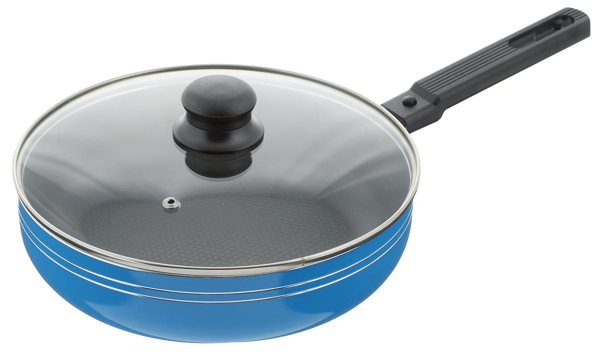 Сковорода-сотейник Добрыня с крышкой, с антипригарным покрытием, со съемной ручкой, цвет: голубой. Диаметр 24 см. DO-5024DO-5024Сковорода-сотейник Добрыня изготовлена из алюминия с антипригарным покрытием. Оно не содержит вредных примесей ПФОК, что способствует здоровому и экологичному приготовлению пищи. Кроме того, с таким покрытием пища не пригорает и не прилипает к стенкам, поэтому можно готовить с минимальным добавлением масла и жиров. Внутреннее покрытие обладает антипригарными свойствами и не выделяет вредных веществ. Пластиковая съемная ручка специального дизайна удобно лежит в руке. Сковорода оснащена стеклянной крышкой с отверстием для выхода пара. Подходит для использования на газовых, электрических, стеклокерамических плитах. Не подходит для индукционных. Можно мыть в посудомоечной машине. Диаметр: 24 см. Высота стенки: 6,5 см. Длина ручки: 17 см.